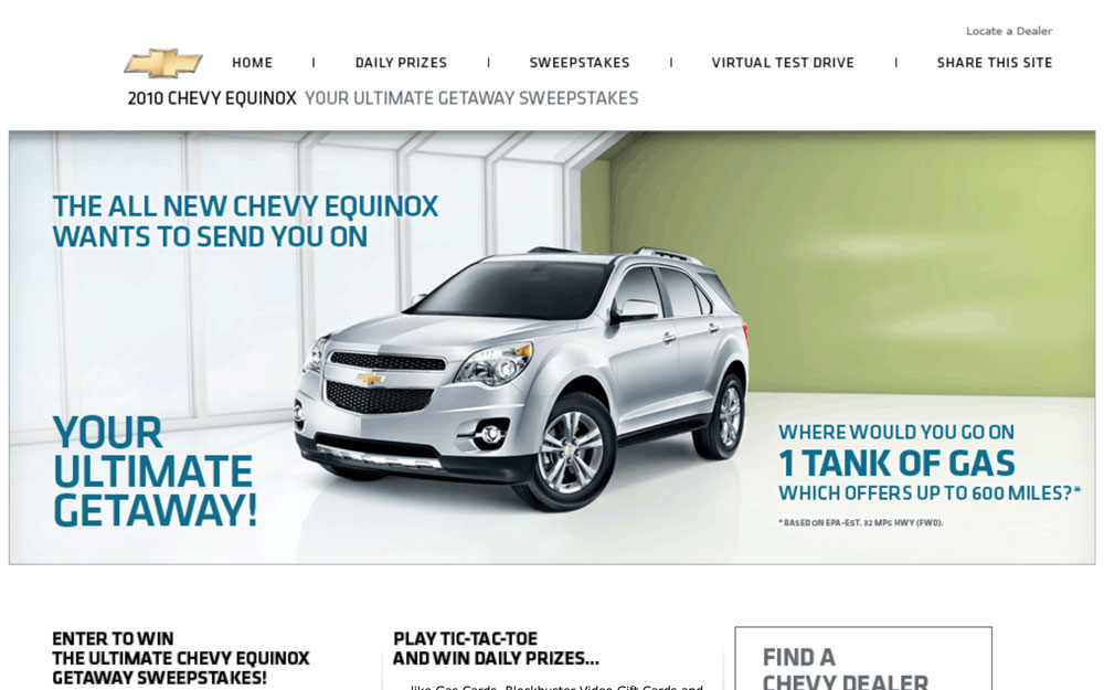 Chevy Staycation website