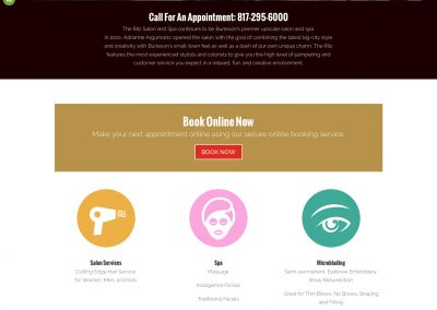 The Ritz Salon and Spa main page